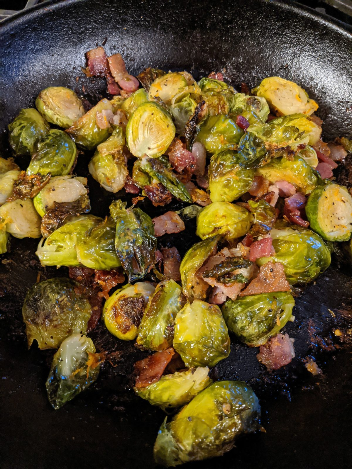 Orange Roasted Brussels Sprouts with Bacon